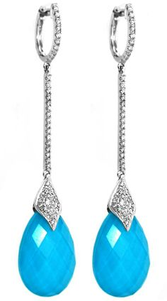 Ladies fashion dangle doublet earrings with round diamonds. Tourquise/white topaz checkerboard pear shaped stones.