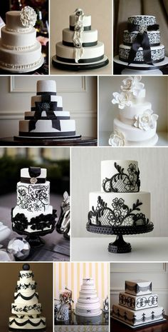 black and white wedding cakes by lala711
