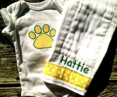 Baylor Baby Onesie and Burp Cloth. $22.00, via Etsy.
