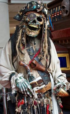 Horror Costume of the Month: The Skeleton Pirate Pirate Skeleton, Pirate Halloween, Couple Halloween, Halloween 2019, Halloween Ideas, Halloween Party, Halloween Decorations, Halloween Costumes, Pirate Garb