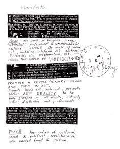 Joseph Beuys, Manifesto, 1970. Alteration of George Maciunas' Fluxus Manifesto, February 1963.
