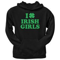 St. Patricks Day - I Shamrock Love Irish Girls Black Adult Pullover Hoodie