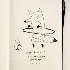 Happy Friday!!!! #the100DayProject #100DaysOfFox #MrFox #fox #doodle # drawing 캐릭터 일러스트