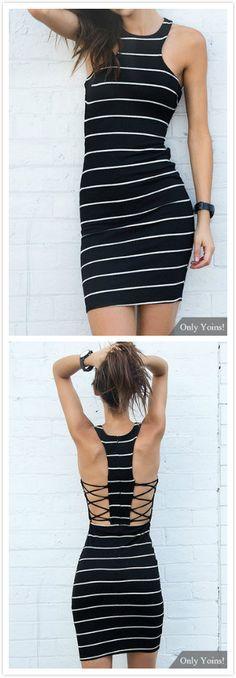 Stripe Pattern Sleeveless Criss Cross Midi Dress