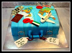 World map suitcase cake