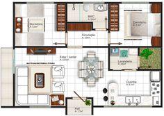 El estupendo diseño de la casa tiene un estilo moderno contemporáneo, es una vivienda familiar pequeña pero acogedora que mide 64 m2, ...