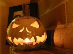 White Fanged Raku Jack o Lantern Pumpkin Halloween