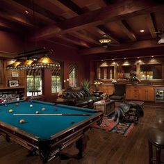 Leather, wood beams and billiards