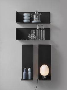 Country of Origin: Denmark Designers: Kyuhyung Cho Material: Powder-coated Steel Dimensions: Medium Divider - Corner Shelves Kitchen, Cupboard Shelves, Metal Shelves, Floating Shelves, Steel Furniture, Home Decor Furniture, Furniture Design, Shelf Design, Wall Design