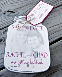 Mason Jar Save the Date with tag and picture by blueenvelope, $2.25