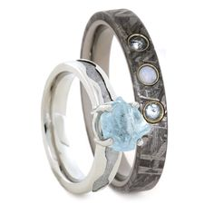 Gemstone Wedding Ring Set, Rough Aquamarine Engagement Ring With Opal Wedding Band-3416  A handmade gemstone wedding ring set for him and her. This set comes with a rough aquamarine engagement ring with a 10k white gold wavy ring...