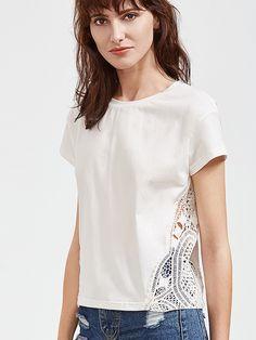 Camiseta de manga corta de croché insertado-(Sheinside)