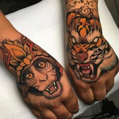 Search inspiration for a New School tattoo. Monkey Tattoos, Face Tattoos, Cool Tattoos, Japanese Sleeve Tattoos, Full Sleeve Tattoos, Chinese Tattoos, Celtic Tattoo Symbols, Tiger Tattoo, Grey Tattoo