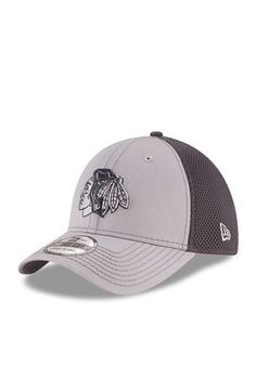 New Era Chicago Blackhawks Grey Grayed Out Neo 2 39THIRTY Youth Flex Hat  Nhl Chicago 617b67ca99d3