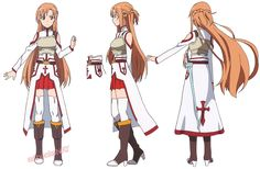artbooksnat: Sword Art Online (ソードアート・オンライン)A selection of Asuna's Aincrad battle and casual model sheets, illustrated by anime character designer Shingo Adachi (足立慎吾), from the Sword Art Online Design Works (Amazon Japan) art book.