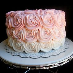 Pink Ombre Cake  This beauitful cake makes the perfect party centerpiece!