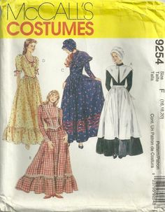 McCalls 9254 Misses Costumes Pattern Pilgrim Prairie Dresses Womens Sewing Pattern by patterngate.com
