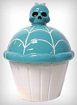 Skull cupcake cookie jar