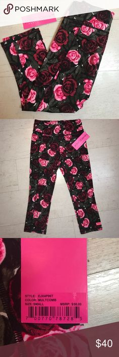 c1315eabbd722 Betsey Johnson Performance Capris CUTE Capri length workout pants with  roses. Brand new and never