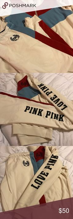 Victoria Secret PINK 2 piece half zip and joggers! Victoria Secret PINK 2 piece half zip and joggers! Size Large! Worn once! Awesome fit! Comes with half zip jacket and matching bottoms, both are a large. Worn once! Smoke free! Pet free! Home! No trades! May consider reasonable offers! PINK Victoria's Secret Other
