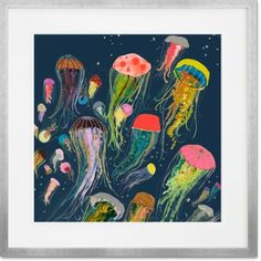 GreenBox Art + Culture GreenBox - Floating Jellyfish Indigo Canvas Wall Art, by Eli Halpin Art And Illustration, Painting Inspiration, Art Inspo, Jellyfish Painting, Canvas Wall Art, Canvas Prints, Ocean Canvas, Painting Prints, Art Prints