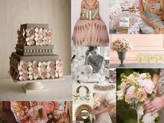 This blush and gold color scheme is absolutely stunning. It gives off almost a mod, yet still rustic, look that is gorgeous, sweet, and simple. Pink And Grey Wedding Cake, Blush Wedding Cakes, Blush Pink Weddings, Wedding Cakes With Flowers, Gray Weddings, Wedding Colors, Romantic Weddings, Gold Color Scheme, Color Schemes