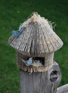 altered book bird house