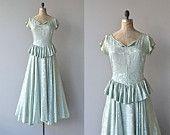 Long Goodbye dress | vintage 1940s dress • brocade 40s max dress