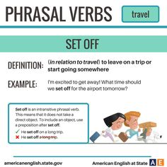 Phrasal Verbs: Travel - Set Off English Tips, English Idioms, English Phrases, English Writing, English Study, English Class, English Lessons, English Vocabulary, English Grammar