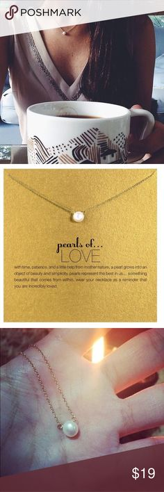 """Imitation Pearl Chain Necklace This Golden Threads Pearls of LOVE gold necklace on a delicate chain also includes a lovely gold card for you or your friend with the the printed saying """"with time, patience, and a little help from mother nature, a pearl grows into an object of beauty and simplicity. Pearls Represent the best in us. something beautiful that comes from within. wear your necklace as a reminder that you are incredibly loved. -- The necklace has a 16"""" chain with a 2.5"""" extender…"""