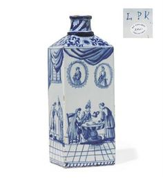 A DUTCH DELFT BOTTLE  CIRCA 1756-1778, BLUE L P K INITIALS FOR DE PORCELEYNE LAMPETKAN  Of square section with cylindrical mouth and sloping shoulder, painted in blue with gallants and companions taking tea beneath drapery swags in a contemporary interior on a tile floor painted to give a sense of perspective  10 5/8 in. (27 cm.)