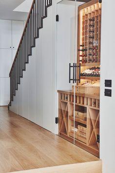 Fulham House – Kaap Studio Staircase Storage, Staircase Design, Storage Under Staircase, Bar Under Stairs, Under Stairs Cupboard, Under Stairs Wine Cellar, Home Bar Rooms, Home Wine Cellars, Wine Cellar Design