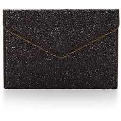Rental Rebecca Minkoff Handbags Black Leo Clutch ($15) ❤ liked on Polyvore featuring bags, handbags, clutches, black, envelope clutch, black envelope clutch, glitter purse, black handbags and glitter handbags