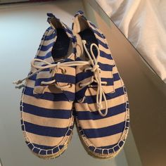 fav blue stripe summer stack espadrilles shoes These are new never worn only tried on indoors GAP Shoes