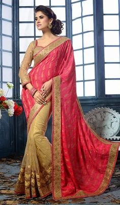 Be the glam doll for the day dressed up in this beige and fuchsia chiffon net half n half saree. Beautified with lace, patch, resham and stones work. #NewLatestEveningSarees