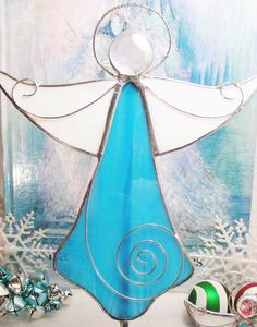 Turquoise Angel Tree Topper by MoreThanColors on Etsy