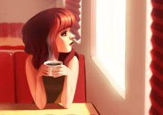 Mujer mirando por la ventana tomando un café