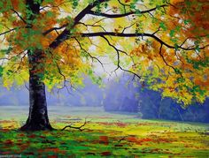 Painting by Number Late Autumn Season The Corner of The Park Big Tree DIY LG7320