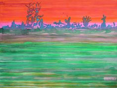 Landscape With Striped Field by Heidi Capitaine #Capitaine#Art#Artist#Painting#Contemporary#Watercolour#Abstract#FineArt#WallArt#Pattern#Landscape#Stripes