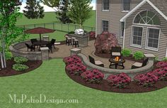 Large Paver Patio with Grill Station and Seat Walls | 670 sq ft | Download Installation Plan, How-to's and Material List @Mypatiodesign.com