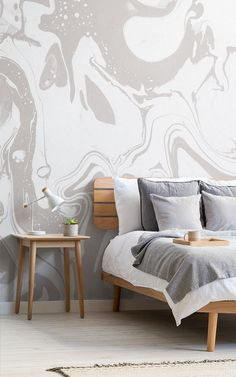 Gray and White Marbleized Wallpaper Mural Wall Finishes, Interior Decorating, Interior Design, Neutral Colour Palette, Colour Schemes, Grey And White, Decoration, House Design, Wallpaper