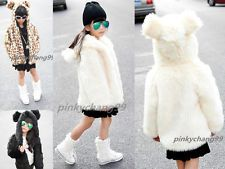 Kids Girl Bear Ears Hooded Winter Soft Warm Fluffy Faux Fur Coat Jacket Outwear