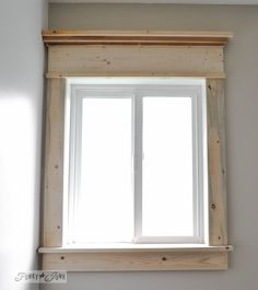 Make a farmhouse window - add window trim to beef up a plain window with no miter cuts in sight! Pattern for mirror frame too?