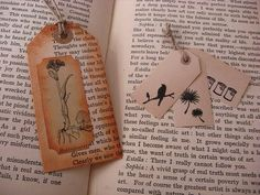 Bookmark ideas  Tags from recycled books by Vakuoli, via Flickr