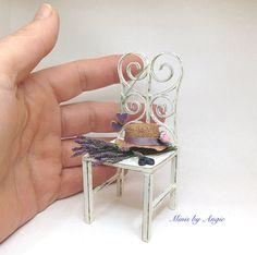 Dollhouse miniature fresh cut lavender on a chair. by MinisbyAngie on Etsy