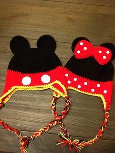 Hecho a mano del ganchillo Mickey y Minnie Mouse por CrochetMeme