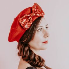 ea205c1978bb Red Wool Felt Beret Hat with Red Sequin Bow, Red French Beret Hat, Red  Women's Winter Hat