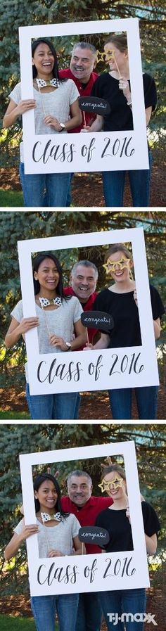 "Graduation Party Photo Booth. THIS IS ADORABLE!!!! AND SOOO EASY!!!! AS FOR ALL THOSE PHOTO BOOTH ACCESSORIES, WE COULD GO TO GOODWILL AND GET EYEGLASSES, NECKTIES, ROLL UP A ""DIPLOMA"", GET A REAL LIGHTBULB, MAKE OUR OWN SIGNS, ETC. by hilary"