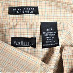 eac86432823 NEW Van Heusen Mens 2XLT Tall Shirt Big Tall Cotton Blend Plaid Button  Front LS  VanHeusen  ButtonFront