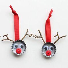 Reindeer bottle cap ornaments